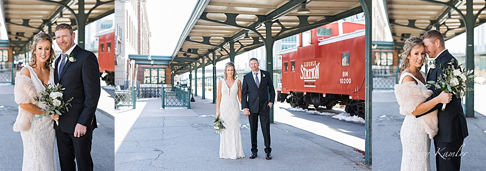 Wedding Photos at the Train Station downtown, Lincoln, NE