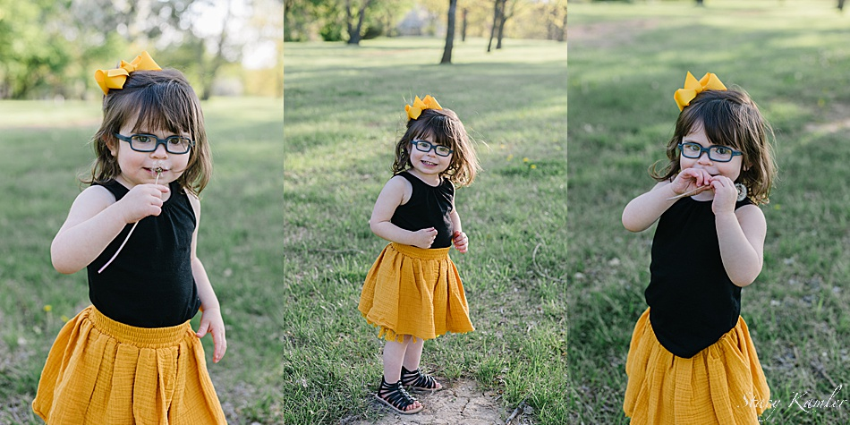 Session for a two year old wearing yellow and Black