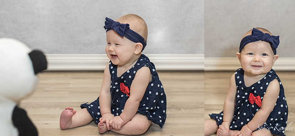 Happy girl with her stuffed animal during photos