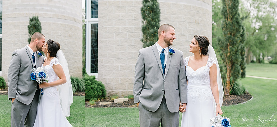 Portraits of the Bride and Groom at the Geneva Catholic Church
