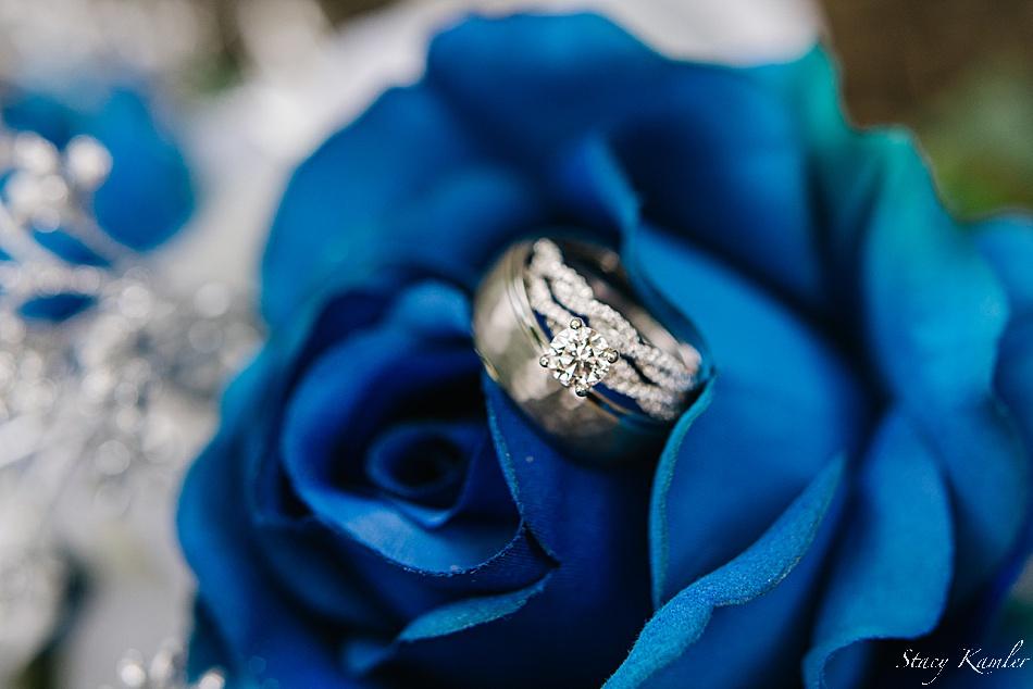 Diamond Rings in a Bride's bouquet
