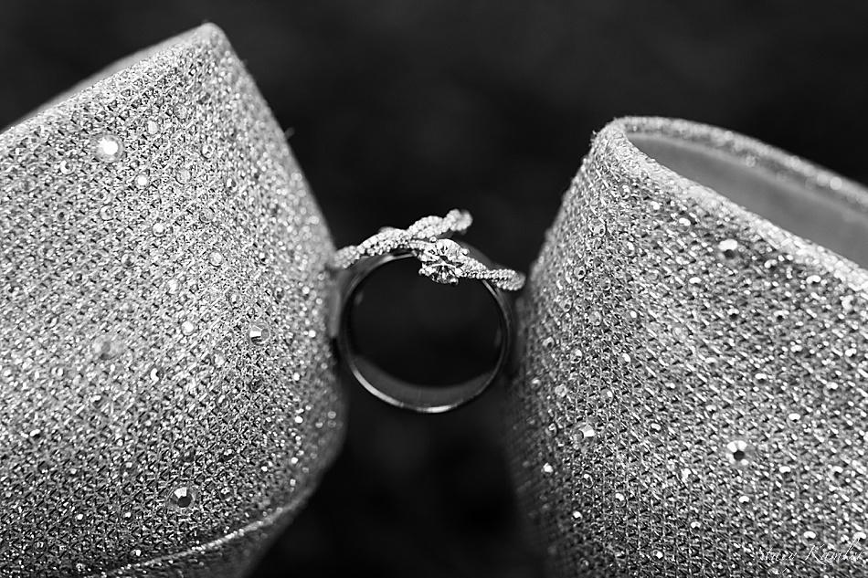 Macro Ring shot of wedding bands and shoes