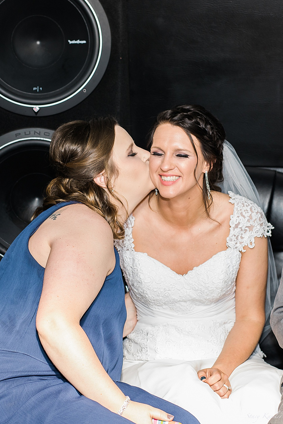 Bride and her sister on the party bus