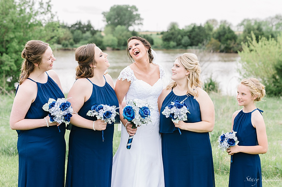 Laughing with the girls on wedding day