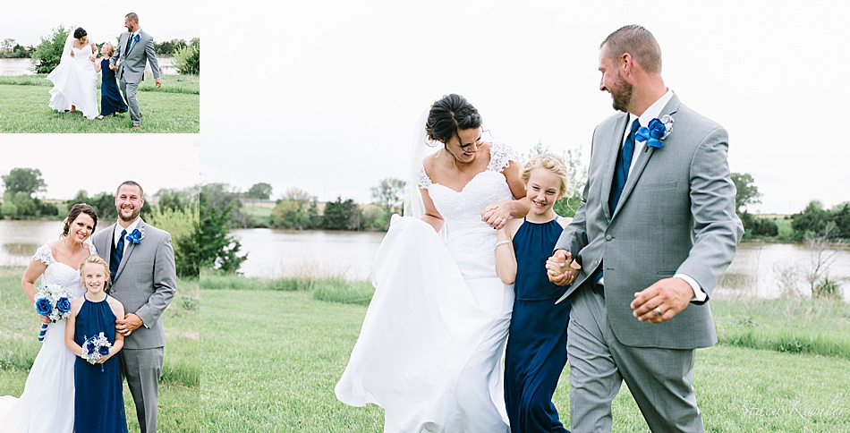 Family photos at ReCharge Lake on wedding day