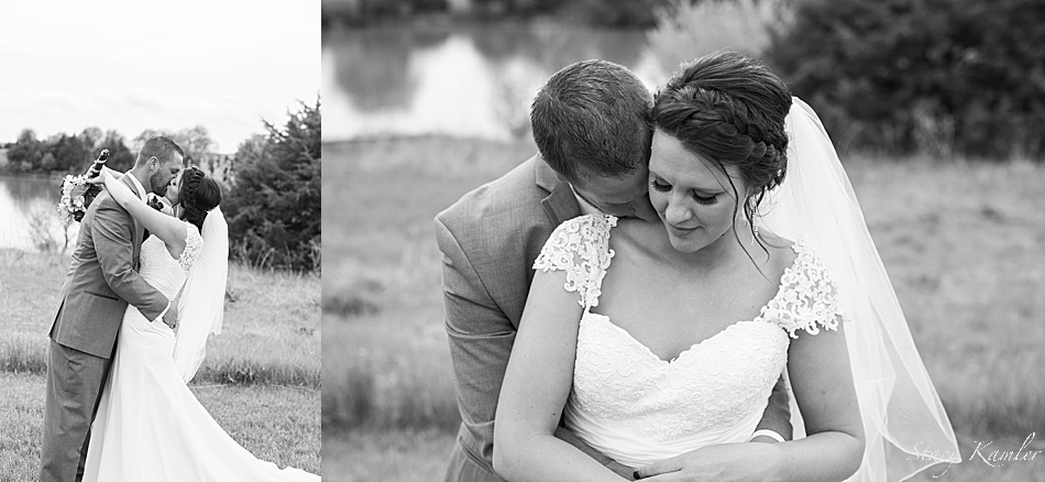 Bride in a a Cap Sleeve dress with Groom kissing her neck