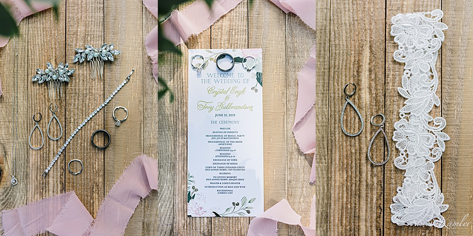Wedding invitation, rings, and jewelry