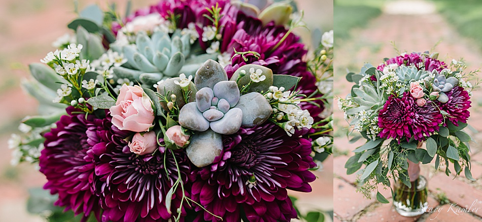 Pink and Purple flowers and succulents for the bride's bouquet