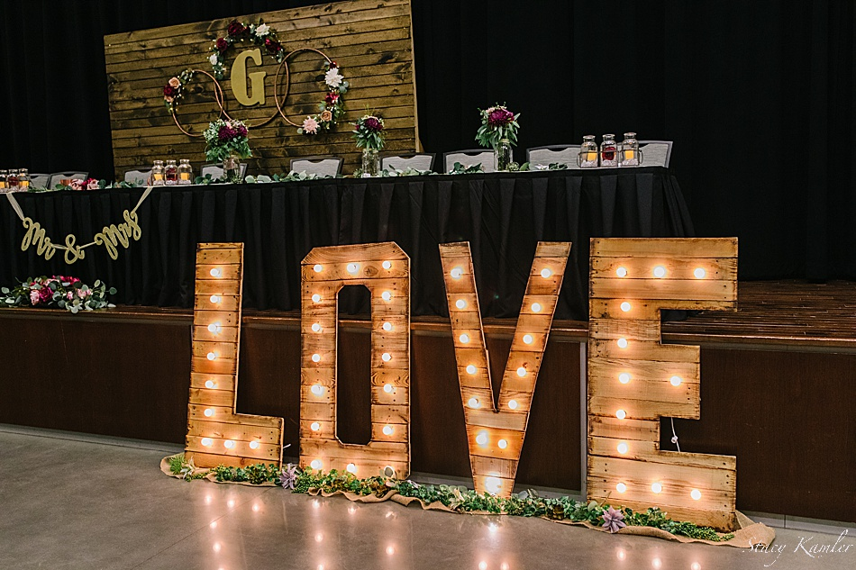 Love sign at the reception - Shabby Chic