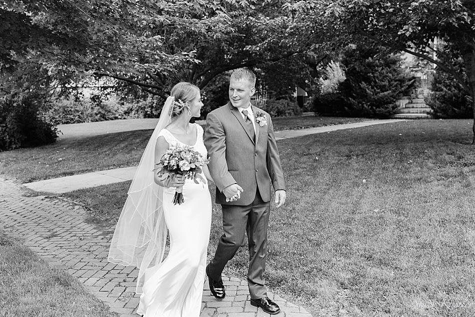 Walking down the sidewalk as husband and wife