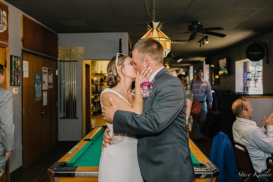 Bride and Groom in the Bar in York NE