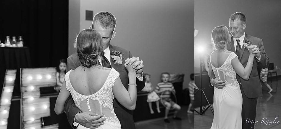 Bride and Groom Dancing at the Holthus Convention Center