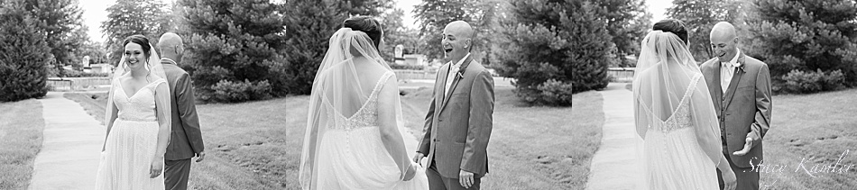 Bride and Groom during their first look in Geneva, NE