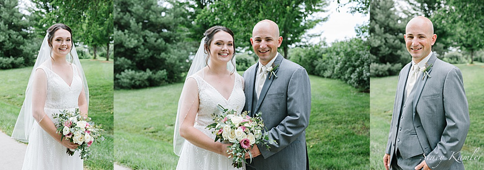 Bride and Groom portraits with flowers from Geneva Floral