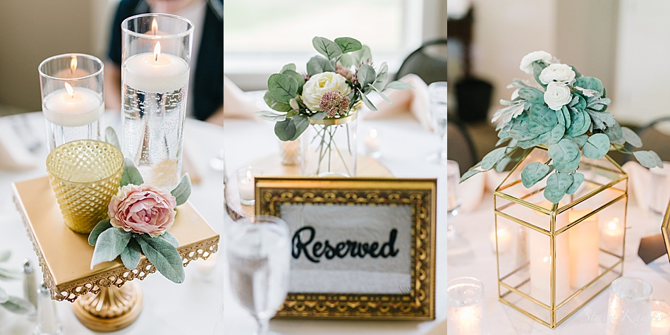 Gold centerpieces with pink and white flowers and greenery