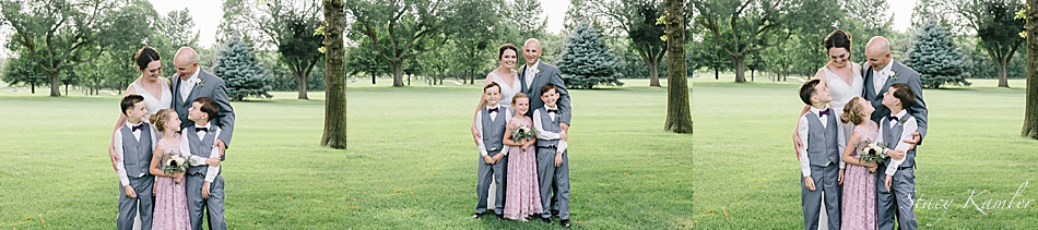 Family photos during golden hour at a wedding