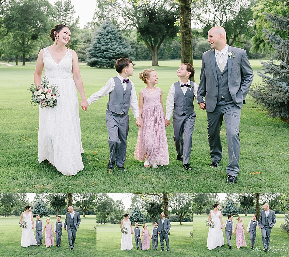 Family photos of bride and groom and children