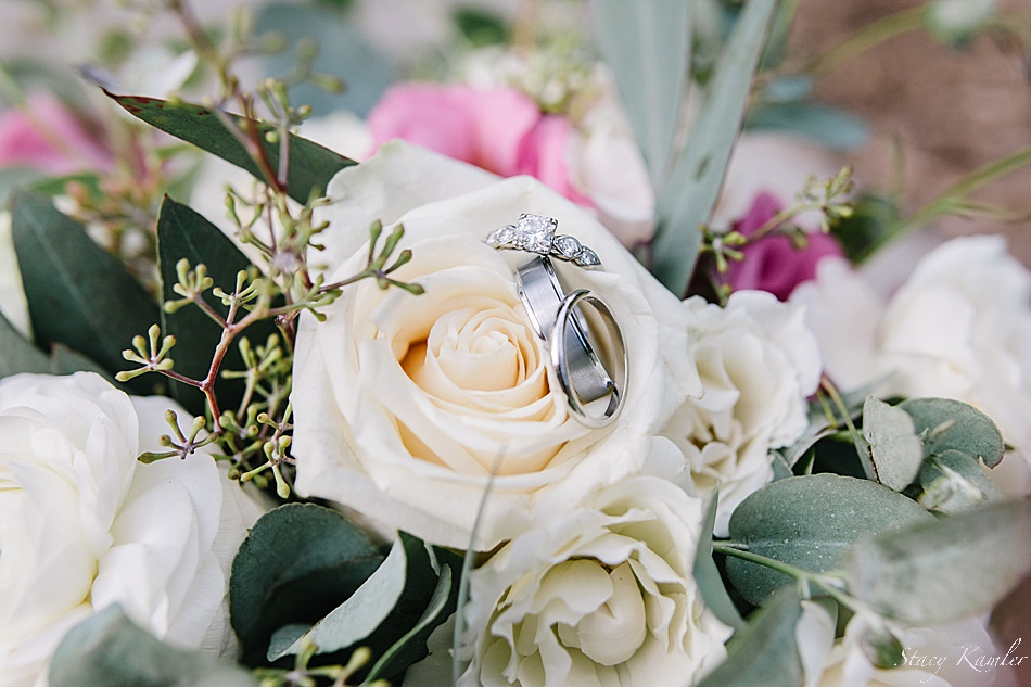 Ring shot in ivory flowers