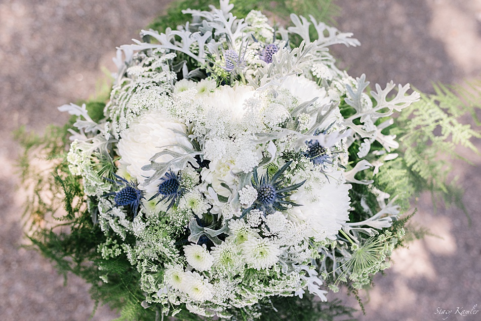 Bride's bouquet of white, green and purple