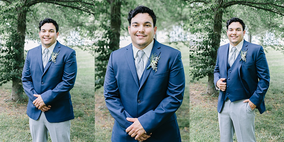 Groom Portraits in blue jacket and grey pants