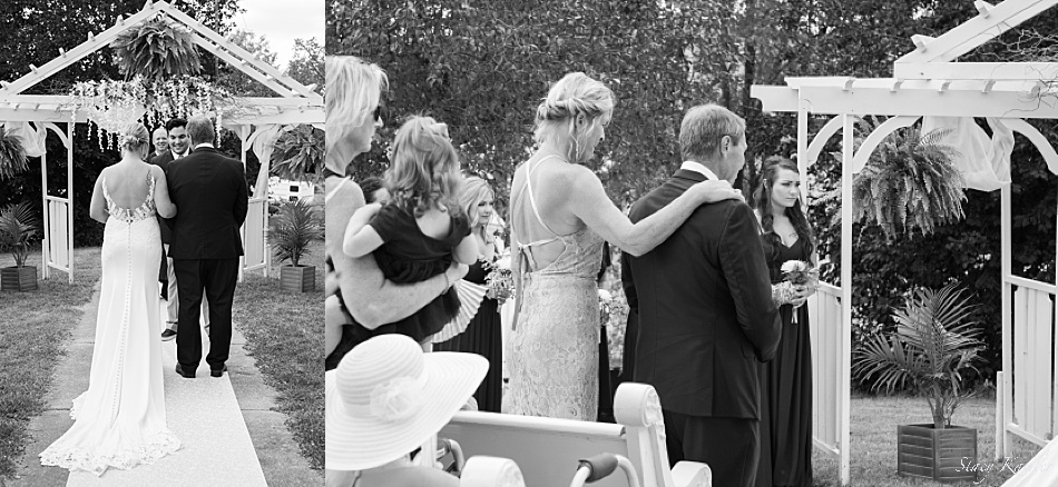 Black and white photos of the ceremony