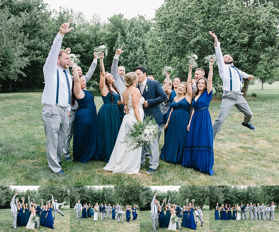 Bridal party laughing during photos