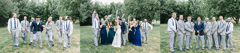 Groomsmen photos in grey tuxes and blue tie