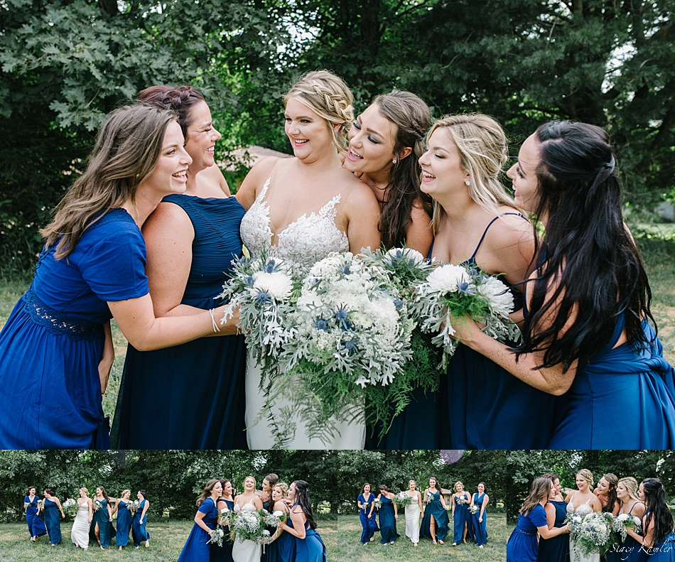 Bridesmaid photos laughing together