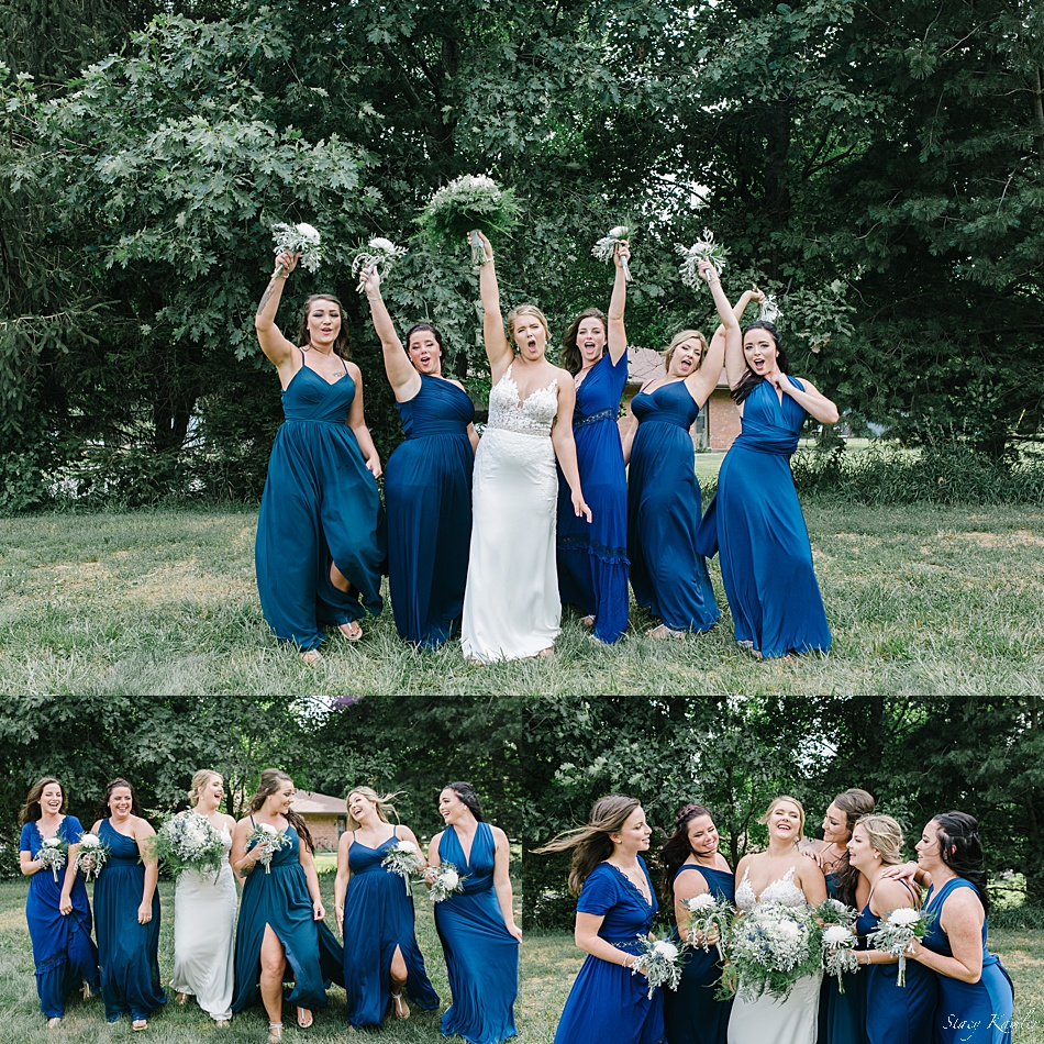 Cheering on the bride during bridesmaids photos