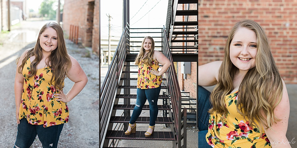 Senior girl photos in old downtown Lincoln