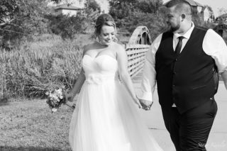 Bride and Groom at Walnut Creek Lake