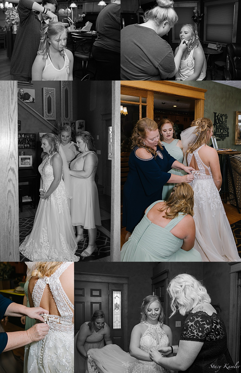 Bride getting dress on with sisters and mom