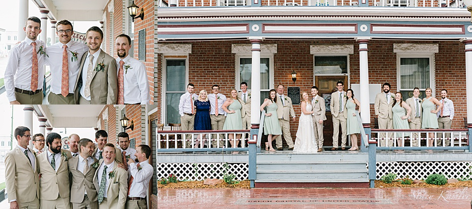 Bridal Party in seafoam green dresses and tan suits