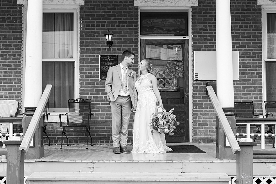 Bride and Groom at the Wilbur Hotel in Nebraska
