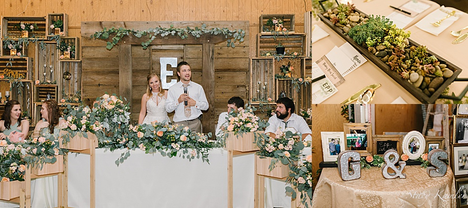 rustic chic wedding decor at the head table