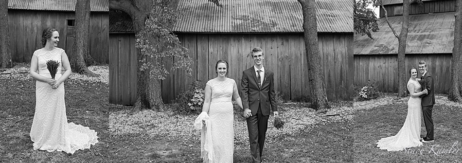 Bride and Groom Portraits in front of Barn