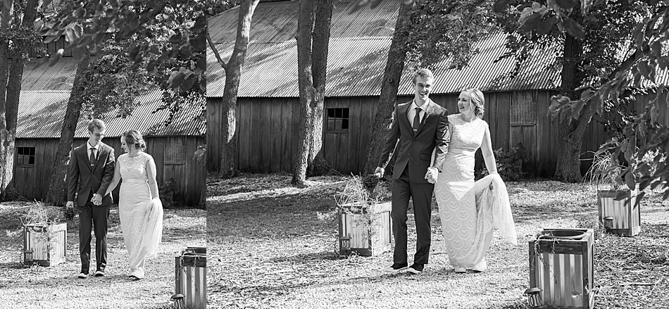 Having fun with wedding photos at the winery