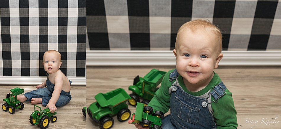 One Year Old Photos with John Deere Tractor