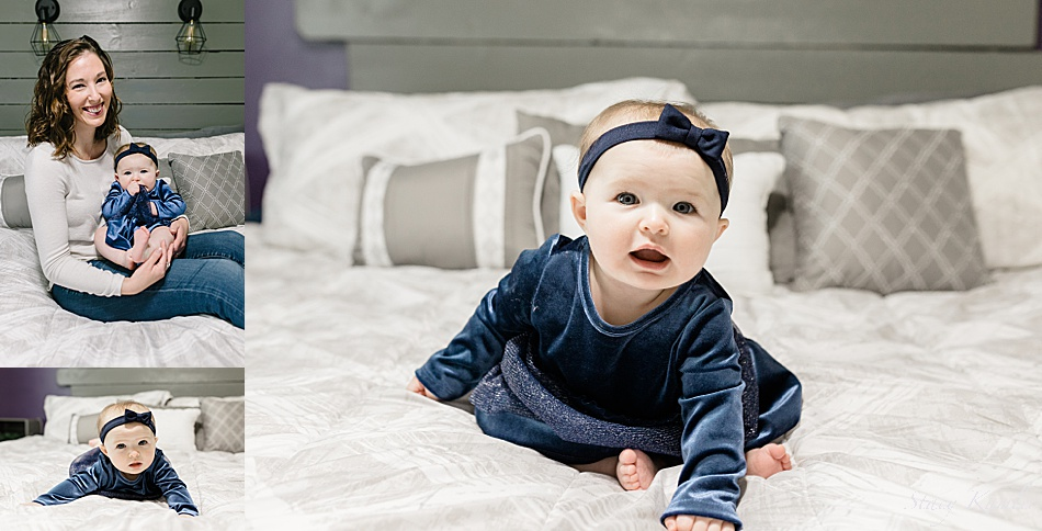 6 month old baby in blue Christmas dress