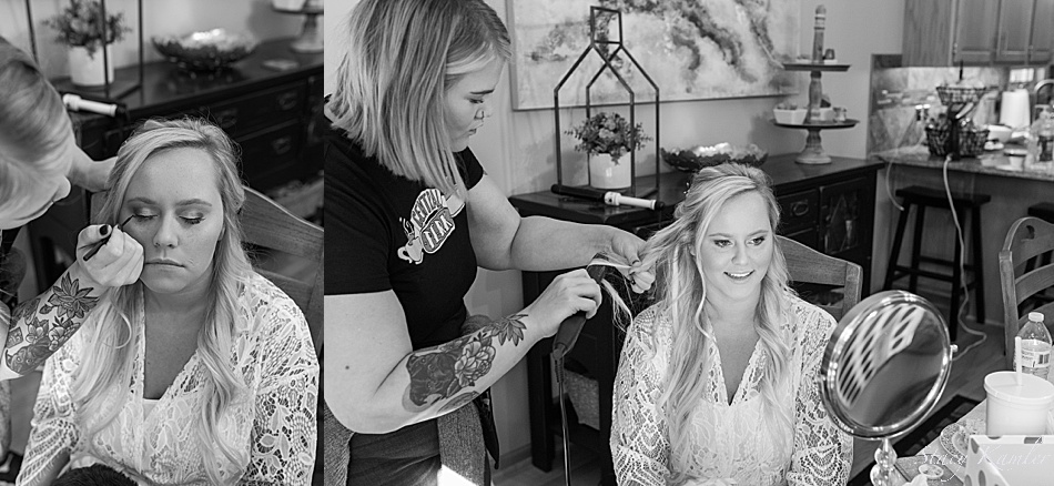 Bride getting hair and makeup done