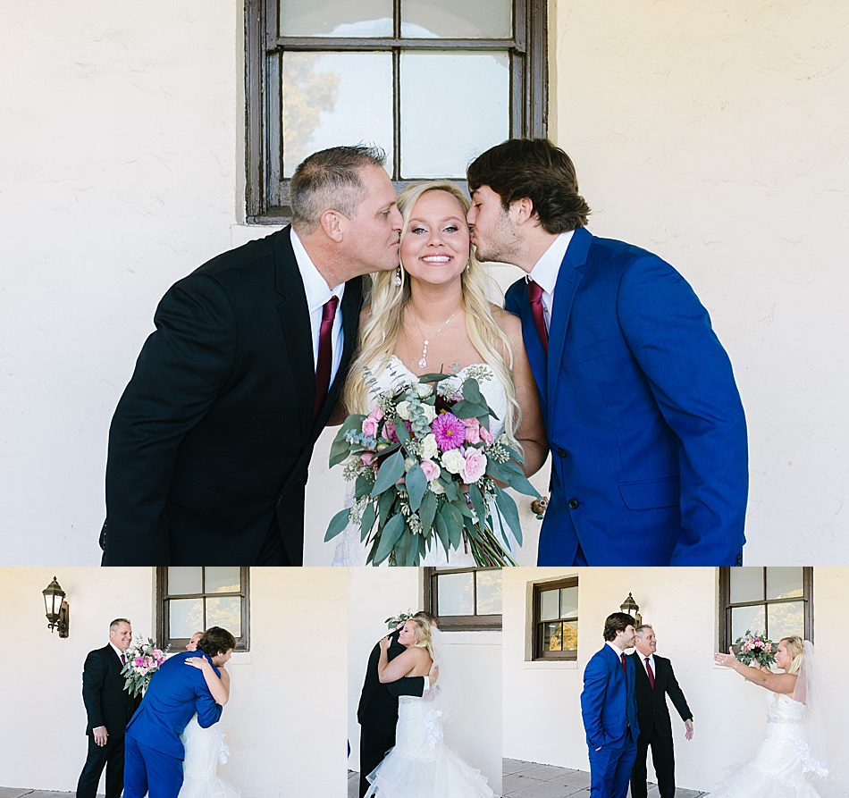 Bride's first look with dad and brother