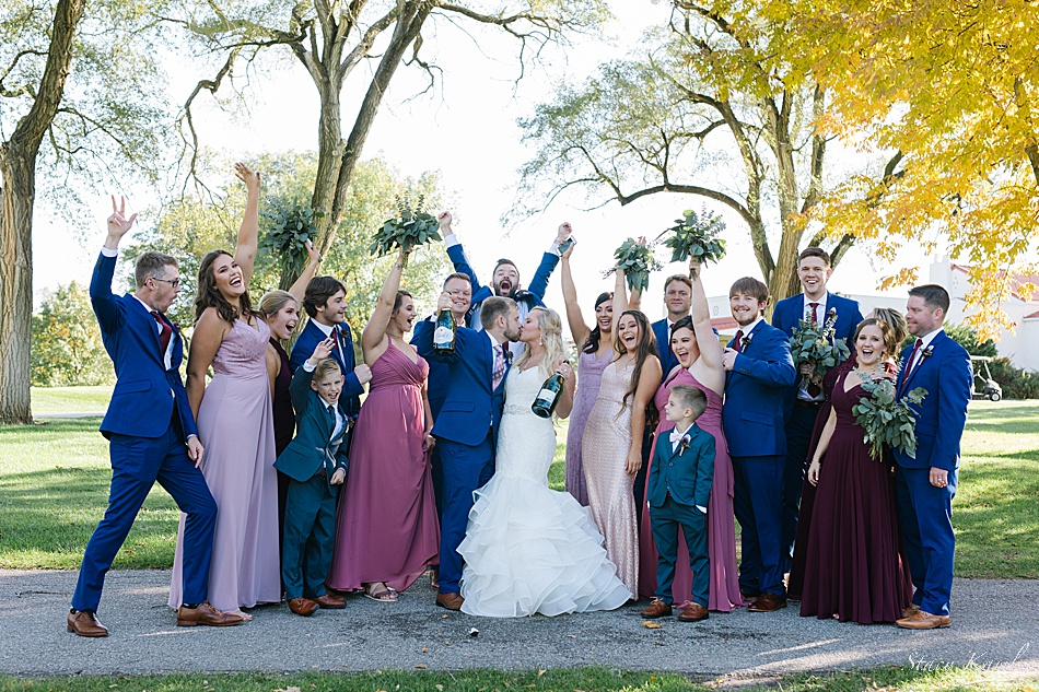 Fun Champagne Photos with Wedding Party