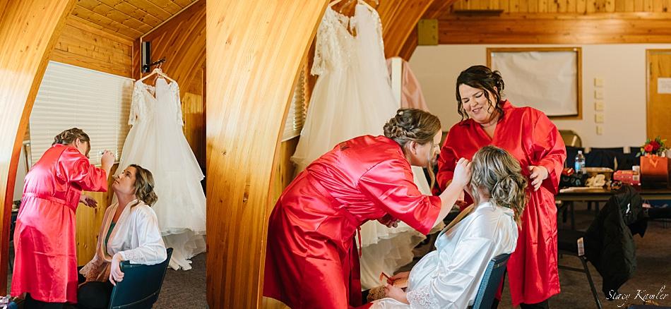 Bride getting Makeup done at Arbor Drive Community Church, York, NE