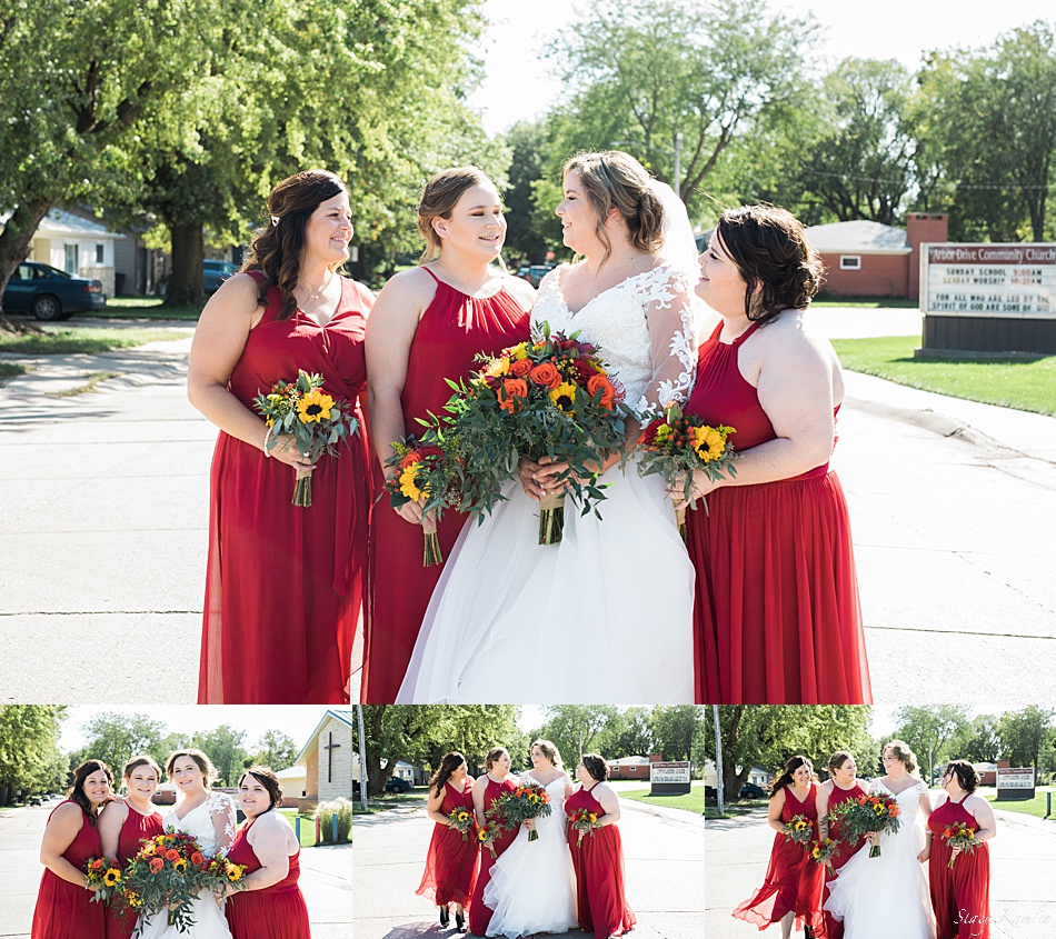 Bridesmaids in Red dresses from Davids bridal