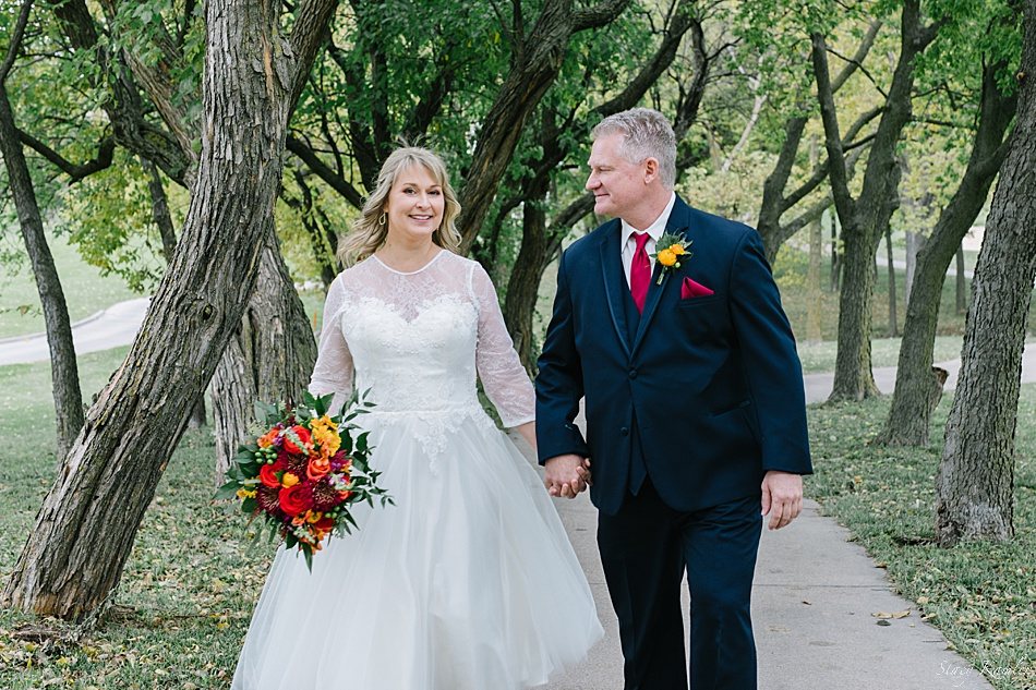 Bride and Groom for a Fall Wedding
