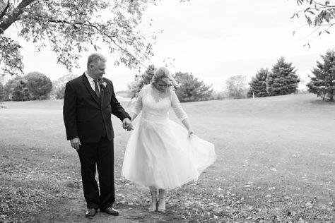 Bride in a tea length dress