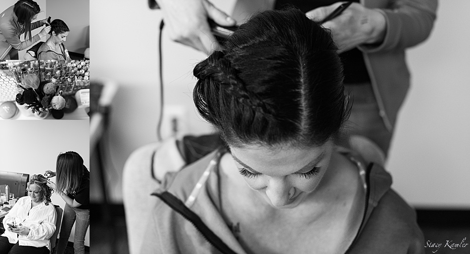 Bride getting hair done by IVY Studio