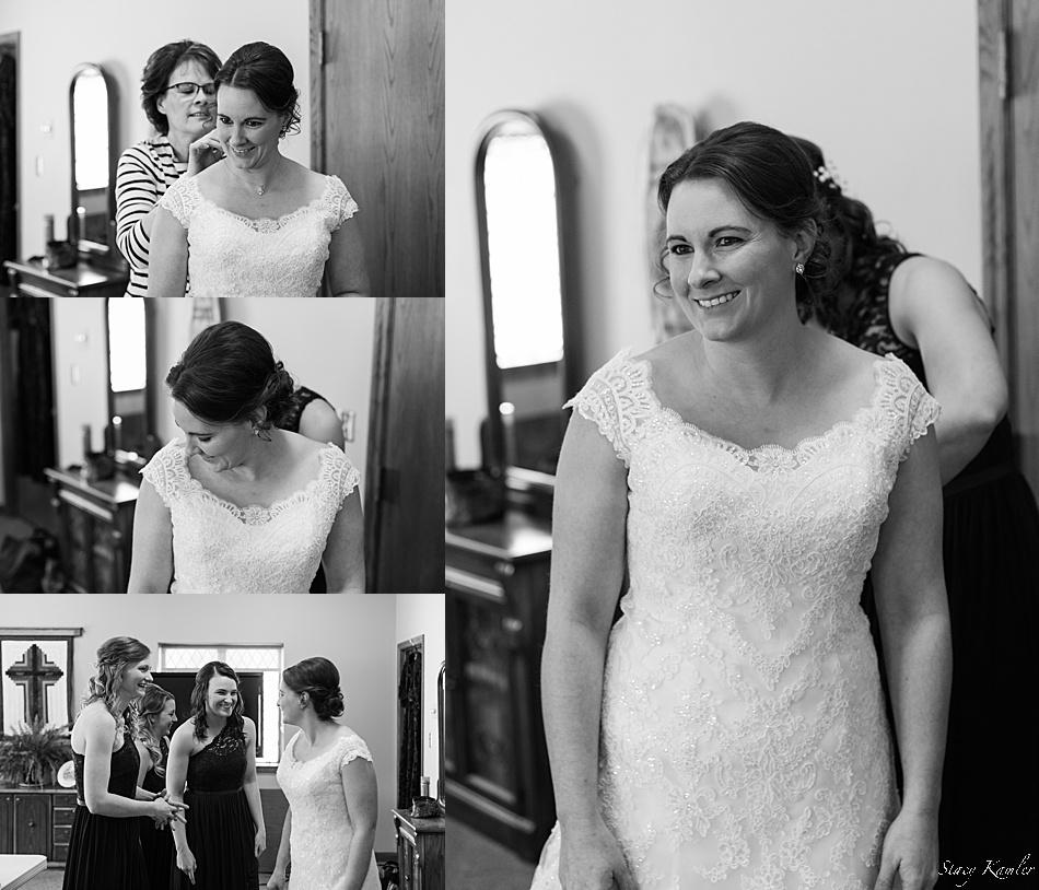 Bride Getting Dressed for a Seward, NE Wedding