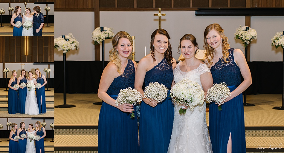 Bridesmaids in blue lace dresses
