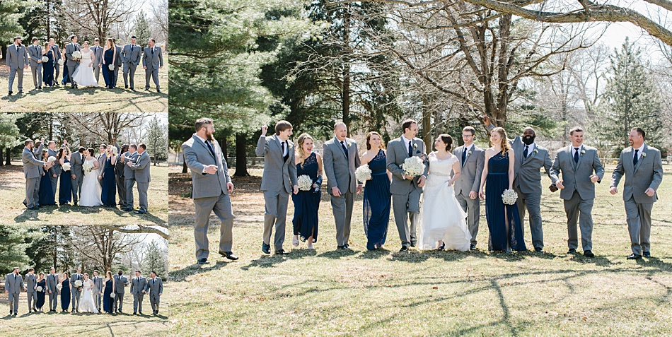 Bridal Party outside in March